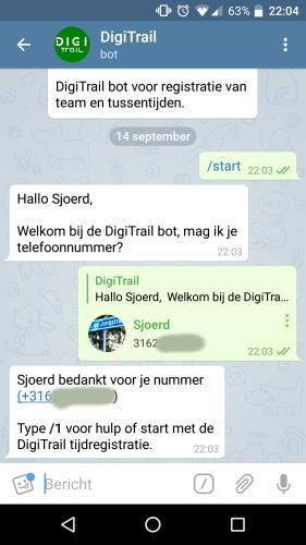 Telefoonnummer sturen naar DigiTrailBot