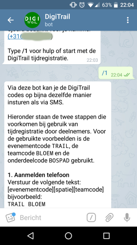 Helptekst in DigiTrailBot